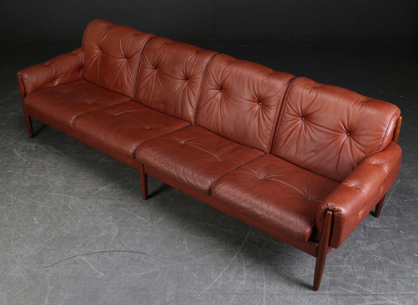 Vintage Retro Danish 4 Seater Cognac Sofa 1960 S Retro Sofa Vintage Sofa Brown Leather Sofa