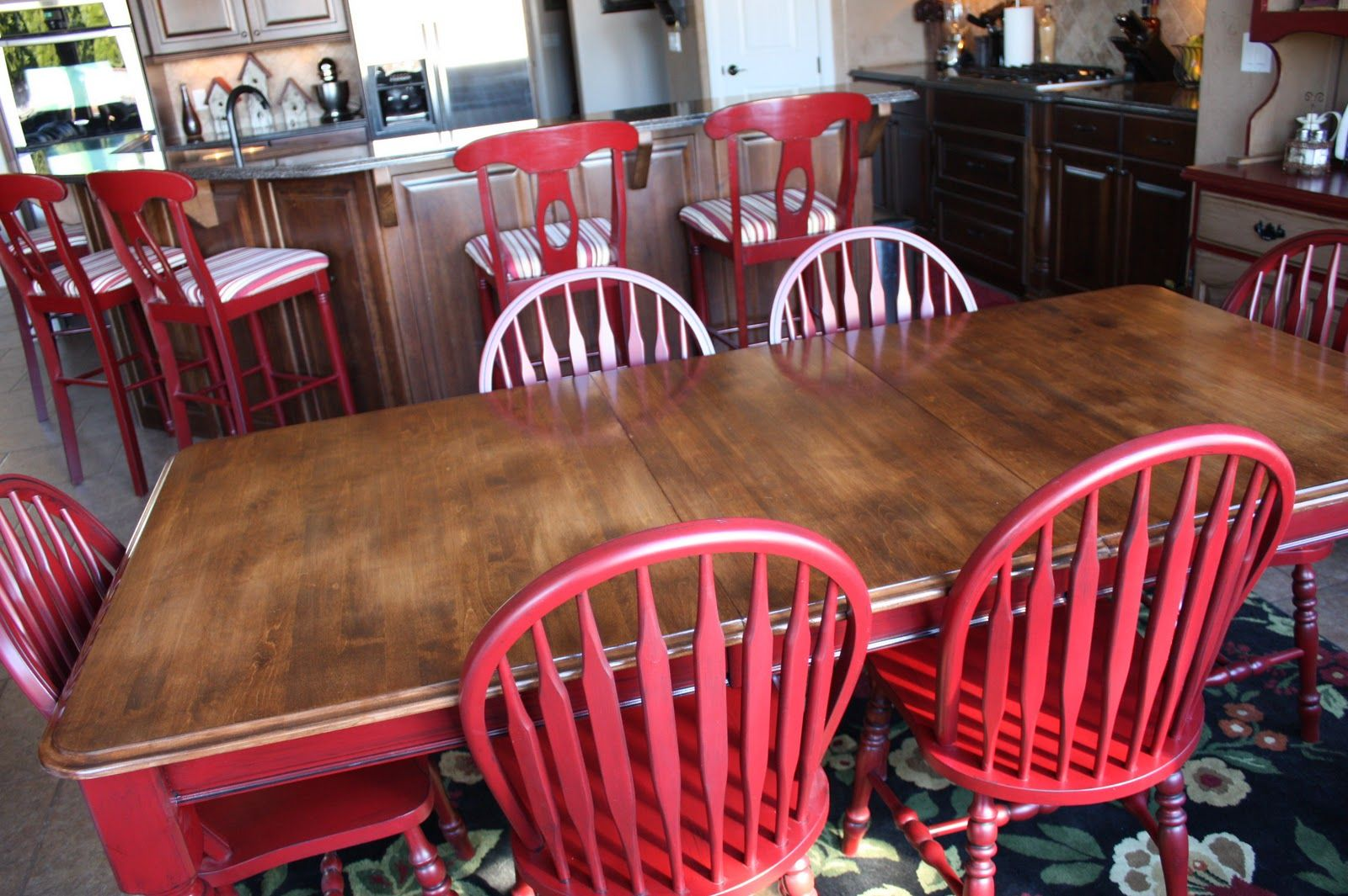 Doubletake Decor New Red Table Amp Chairs Red Kitchen Tables Red Dining Room Dining Table Makeover