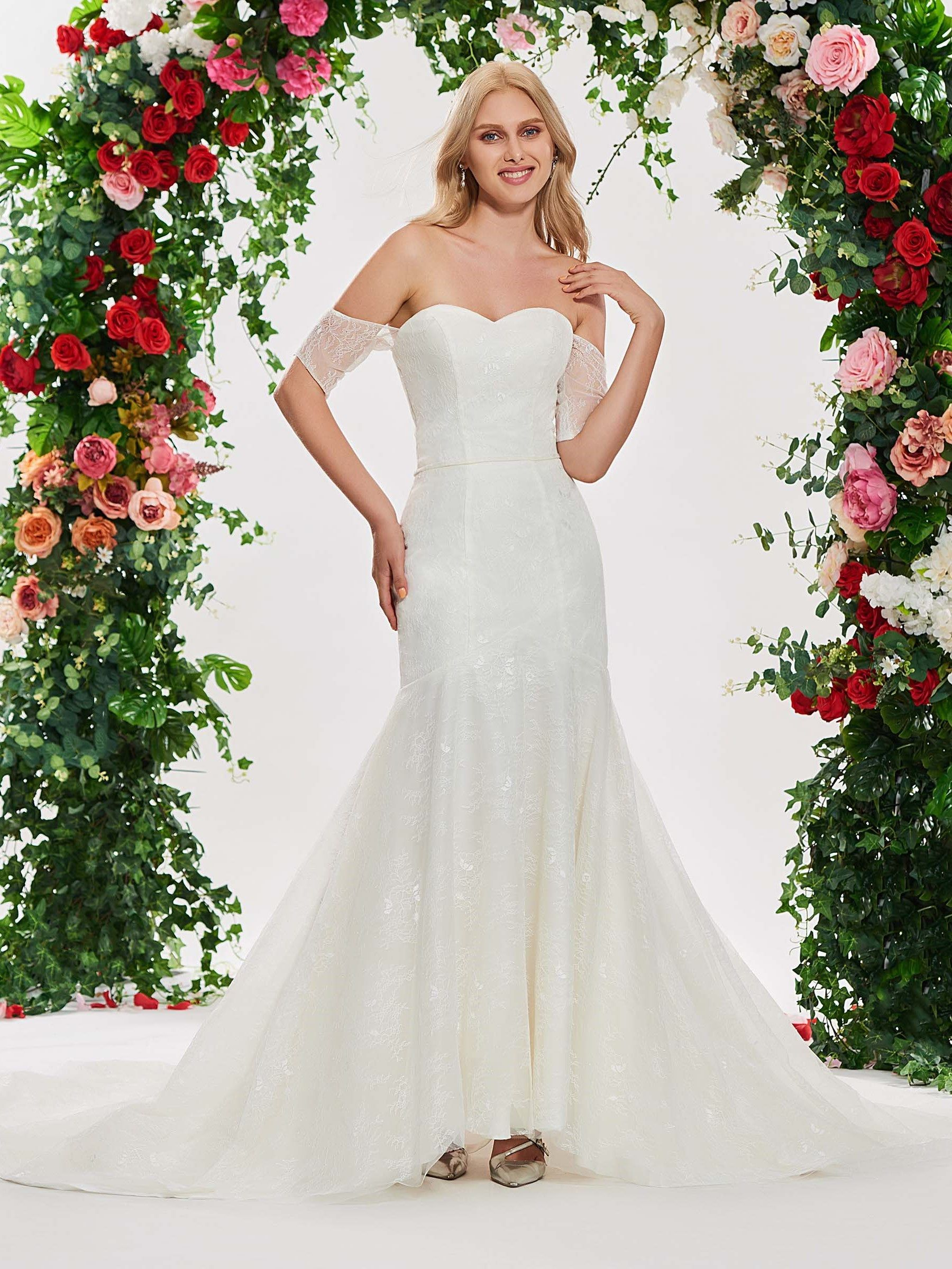 Mermaid lace wedding dress  Short Sleeve Off the Shoulder Mermaid Lace Wedding Dress  Wedding