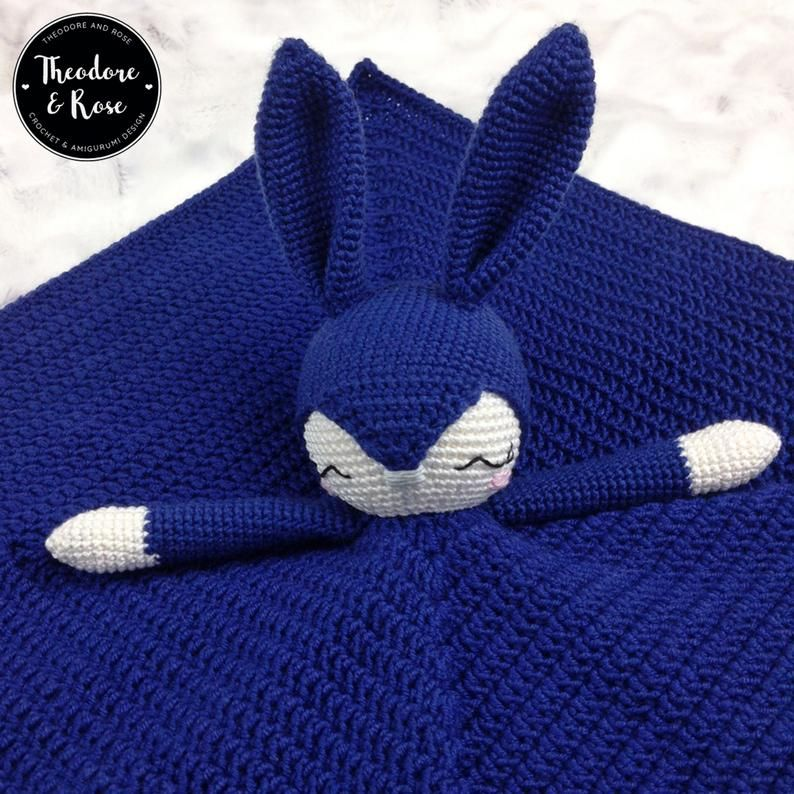 Bunny crochet lovey   Briggs The Sleepy Bunny Security Blanket   Crochet pattern   PDF - PATTERN ONLY in English