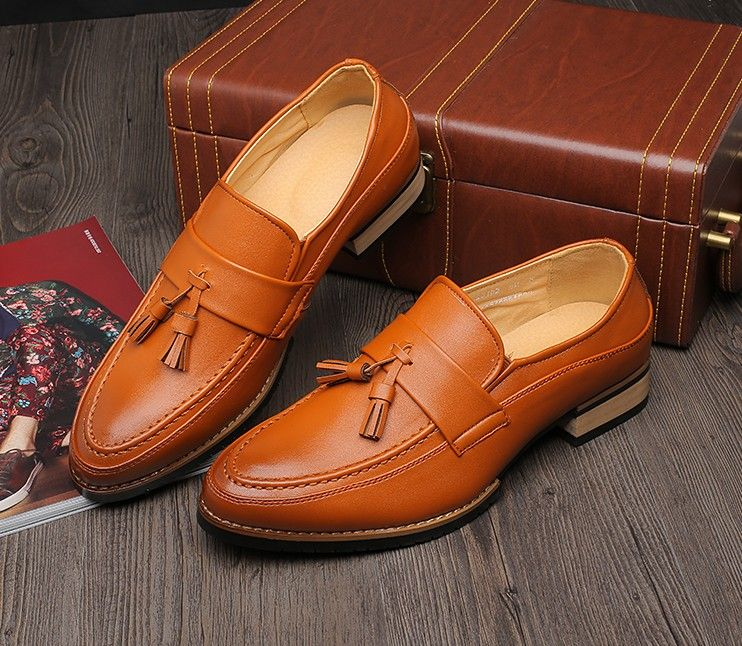 Mens #brown business casual leather slip on #DressShoe ornament decorated, leather upper and lining.