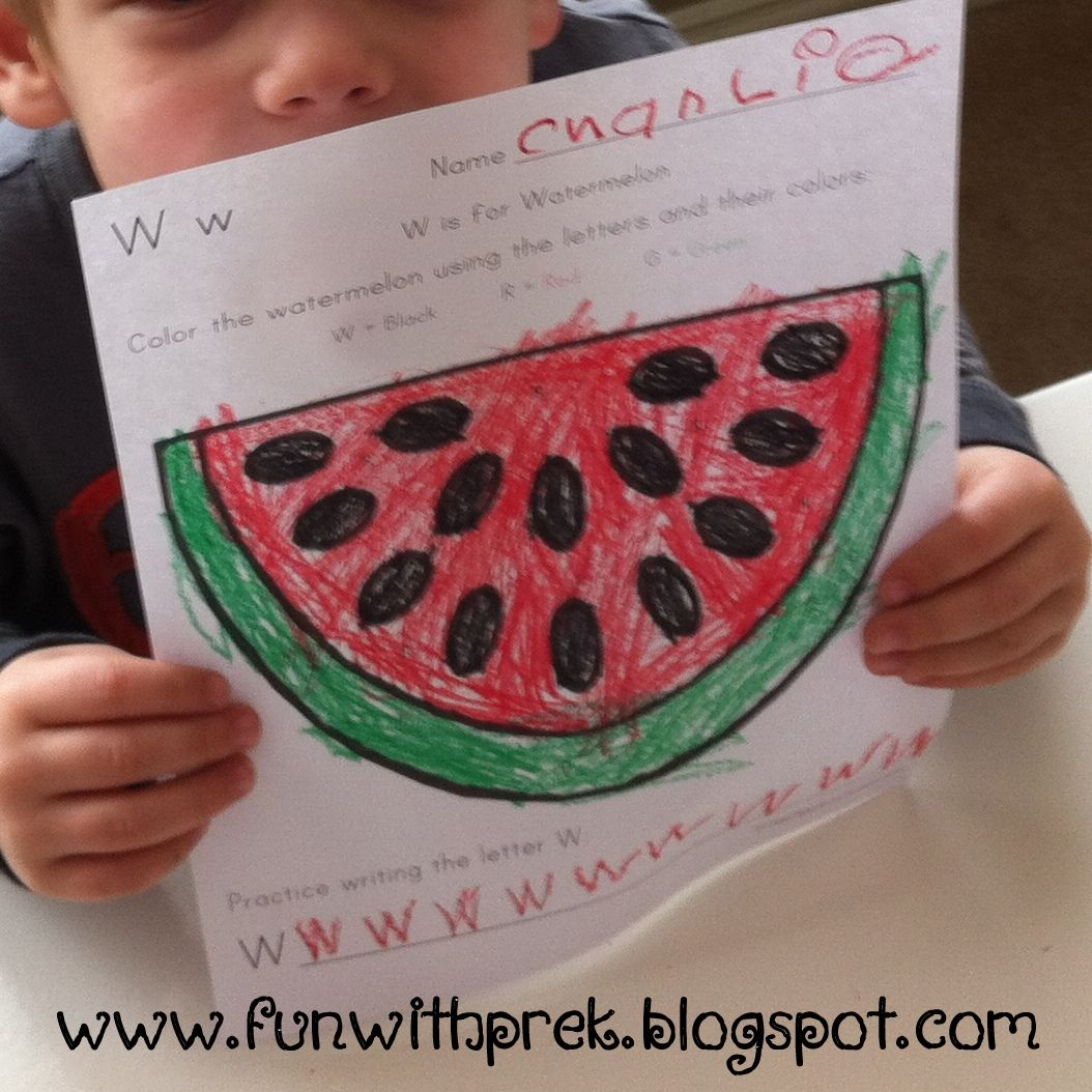 Great Idea Worksheet For Preschool Kids Using Letters As A Guide To Coloring The Watermelon W