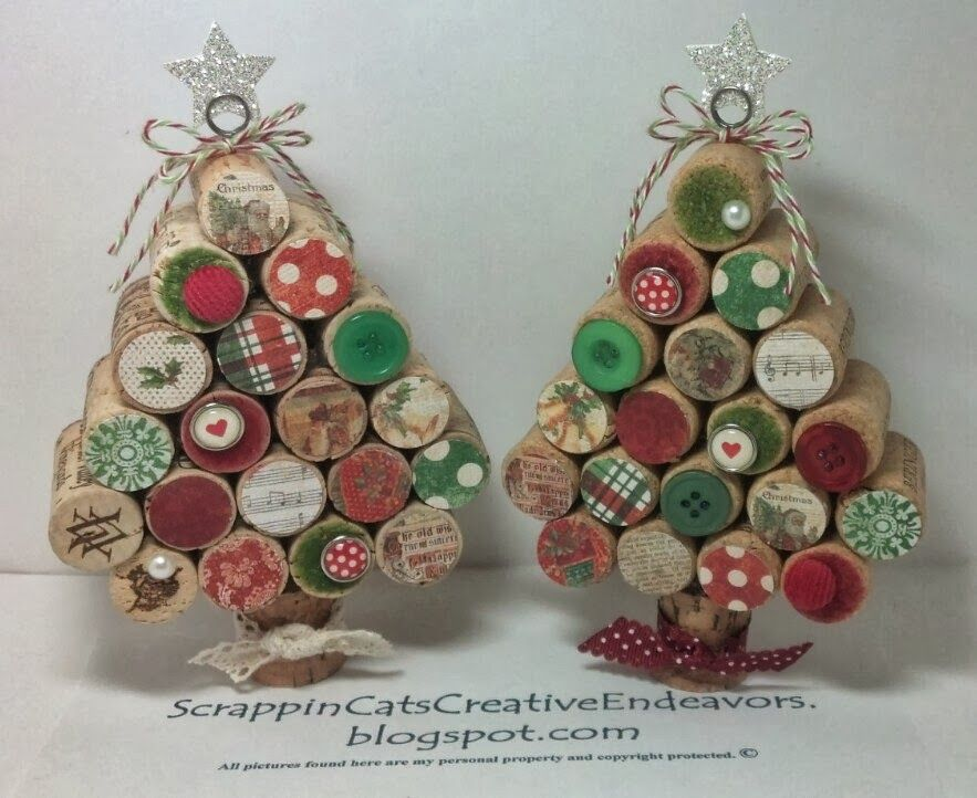 Welcome to Scrappin' Cat's Creative Endeavors: Wine cork Christmas trees