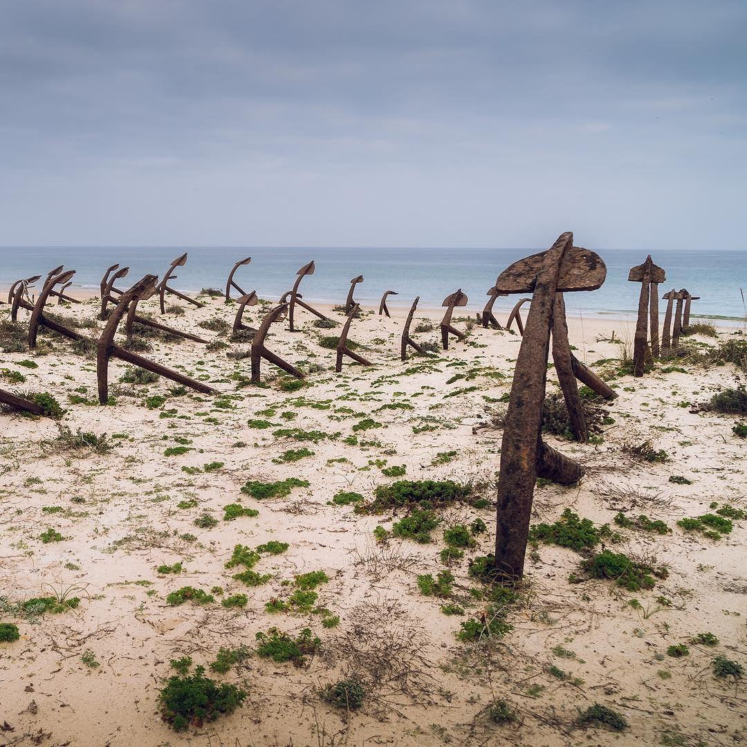 Cemitério das âncoras. Estas âncoras foram usadas nas antigas Armações de pesca ao Atum e Sardinha. ... #algarve #algarvelife #pedrasdelrei #praiadobarril #pictureoftheday #sonya7 #sonyalphasclub #worlds_eyes