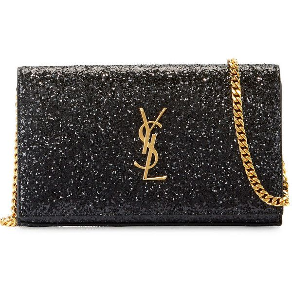 e51b5de048 Saint Laurent Monogram Small Glitter Wallet-on-Chain (€1.465) ❤ liked on  Polyvore featuring bags