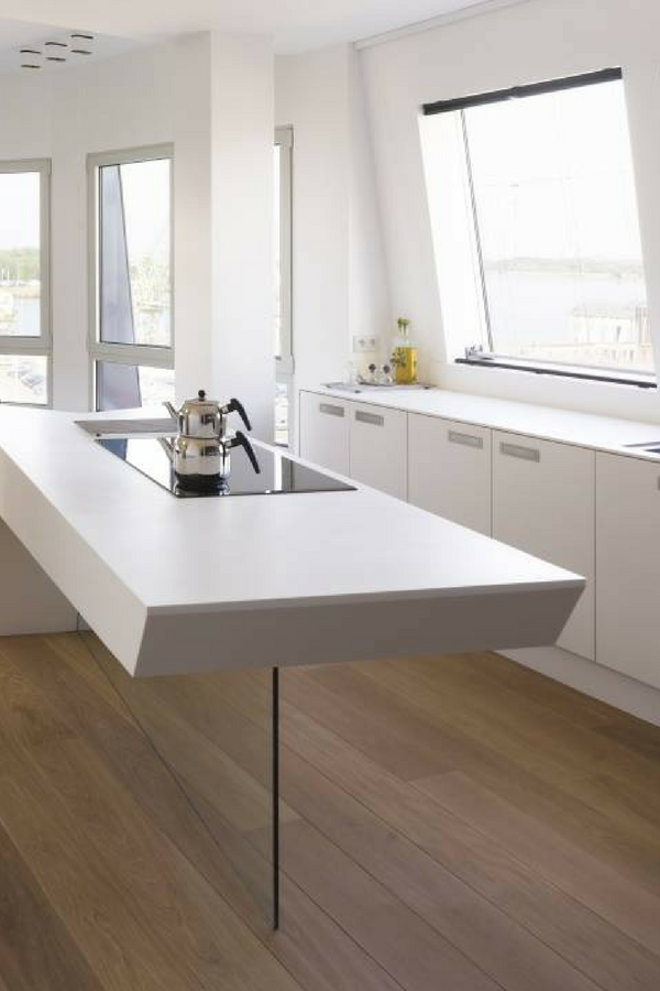 Küche, Insel, Kochinsel, Kücheninsel, weiß, weiße Küche, weiße Arbeitsplatte, Idee, Bild ...