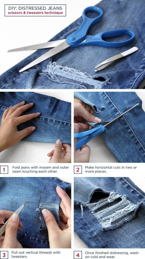 Diy distressed t shirt and jeans pinterest diy distressed jeans diy distressed jeans this site has the best tutorials on how to alter clothes solutioingenieria Gallery