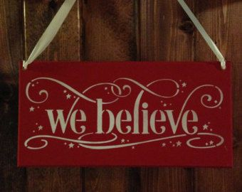 we believechristmas signwood sign wall hanging entry signcustom colors