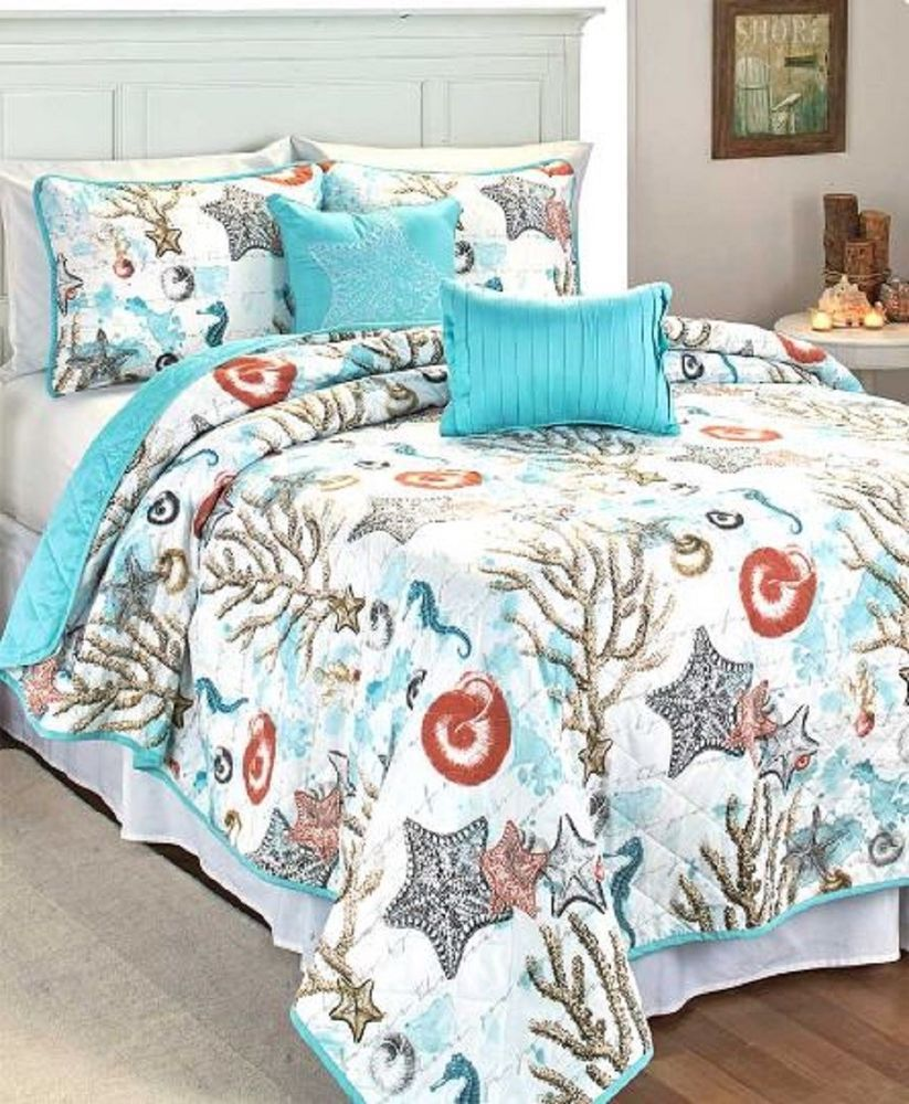 Beach Quilt Set Bedding Coastal Design Bed Bedroom 5 Piece Set Ocean Starfish Unbranded Contemporary Coastal Bedrooms Coastal Quilt Sets Coastal Bedroom