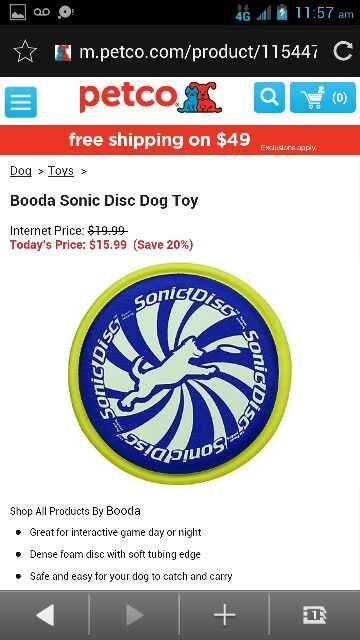 Booda Sonic Disc Dog Toy Disc Dogs Dog Toys Petco