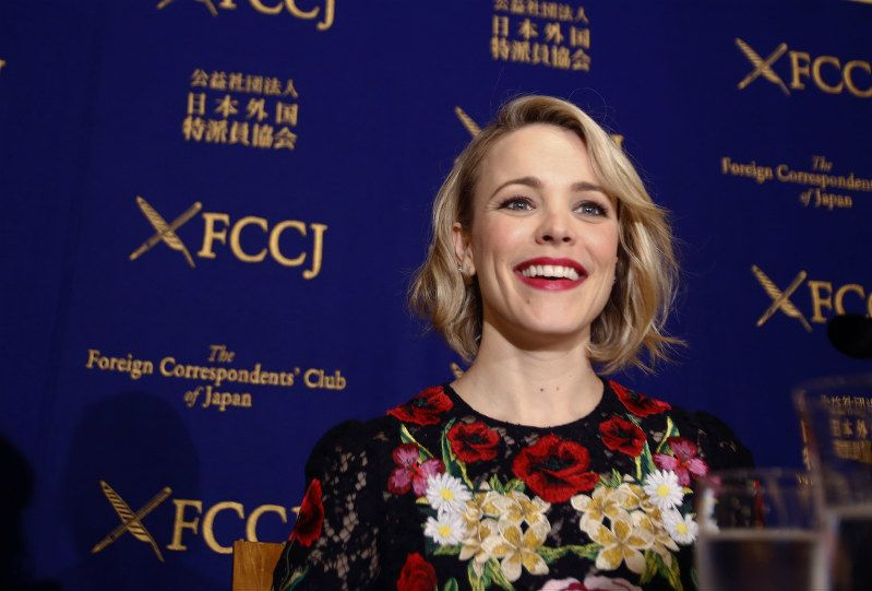 Actress Rachel McAdams poses for photographers after a press conference in Tokyo, on Thursday, April 14, 2016. McAdams, the actress who portrayed a Boston Globe reporter in the Oscar-winning