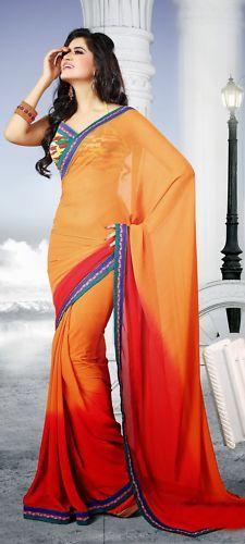 Red  Orange Ethnic Wear Printed Work Indian Bollywood Chiff…