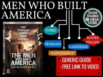 Men Who Built America Generic Guide This product is also included in a bundle that has all of my best-selling  FIRST SEMESTER OF US HISTORY  or try my  THE WHOLE YEAR OF US HISTORY Here is what is included:  - Generic guide for each episode - 15 questions and 3 additional activities to be done in class- 2 page word document to make any changes that you wish - Link to the Men Who Built America FREE LINK (2 VERSIONS) - I have also added History Channels FREE PDF to the downloadThis is an…