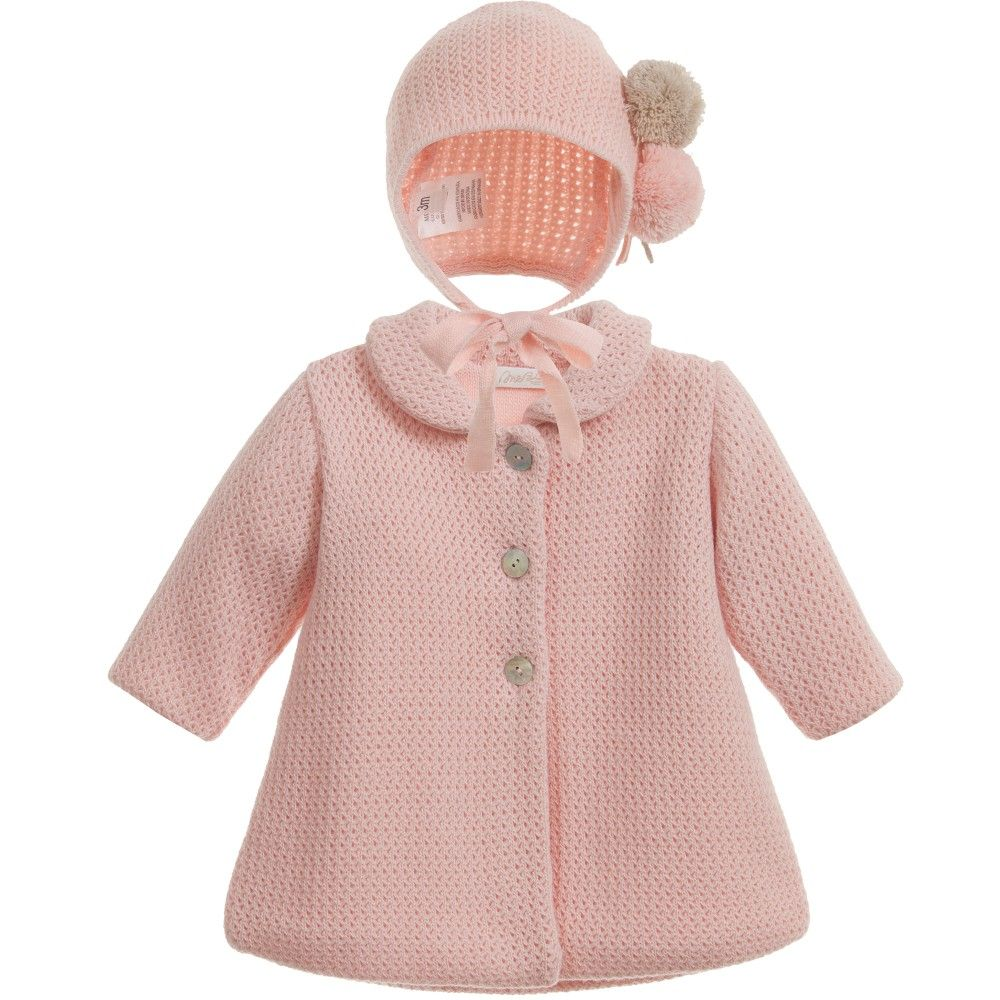 Baby Girls Pink Knitted Pram Coat & Bonnet Set | Prams and Babies