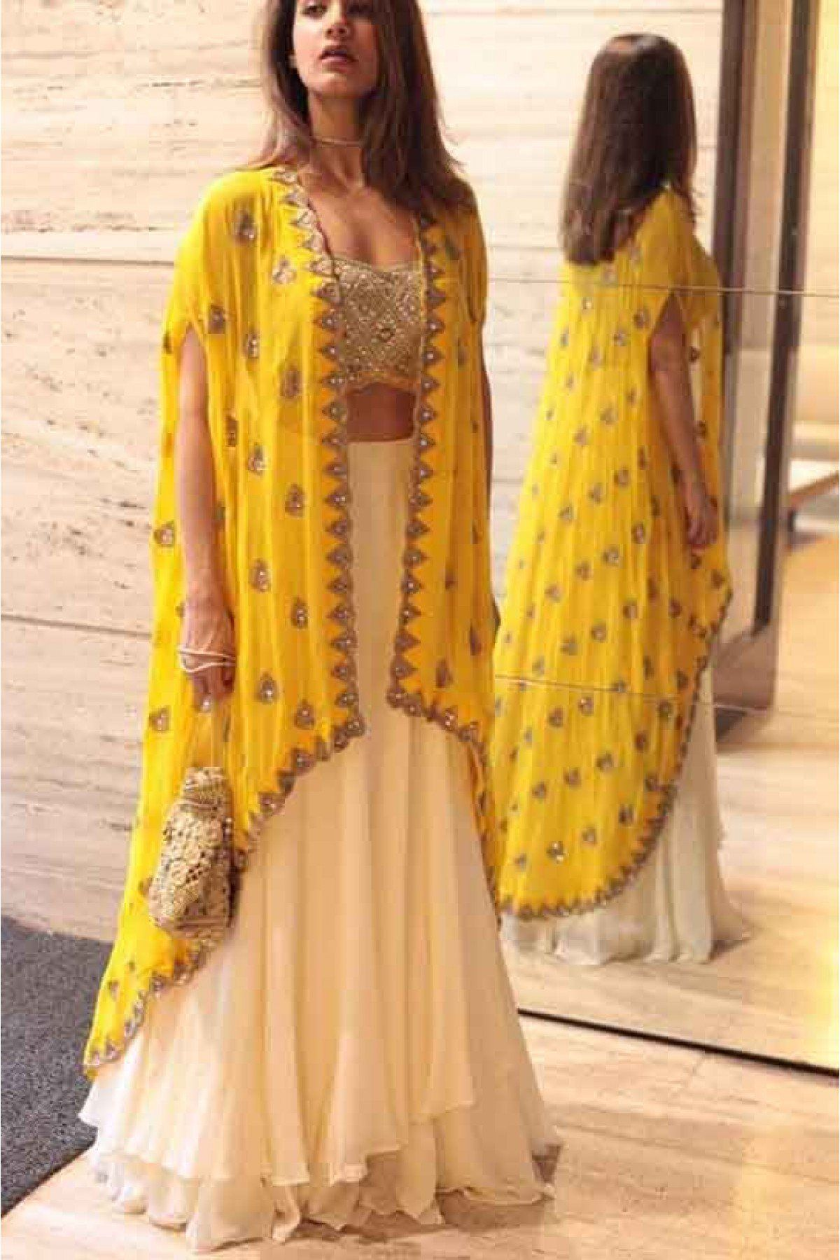 b38dbdab2 Buy Best price latest designer Georgette Party Wear Lehenga Choli In Cream  and Yellow Colour online in india  Ninecolours.com! Cash on Delivery  Available!