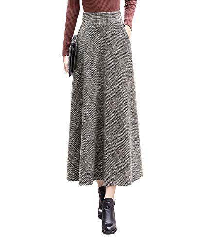29d08cf3506b BiilyLi Donna Vintage Elegante Plaid a Strisce Lana Vita Alta Gonne Vita  Elastica Inverno Autunno Caldo
