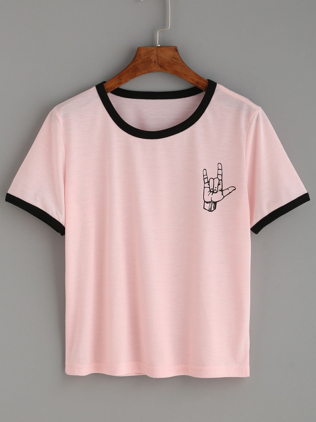 Shop Pink Contrast Trim Love Gesture Print T shirt online SheIn
