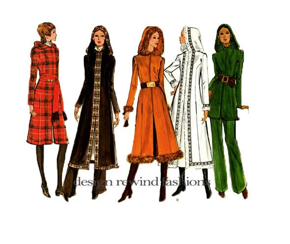1970s VOGUE HOODED COAT Pattern Vogue Long Coat, Pants Trousers ...