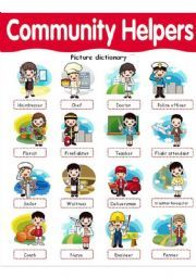 English worksheet Community Helpers picture dictionary  Projects