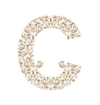 floral letter c ornament font vector