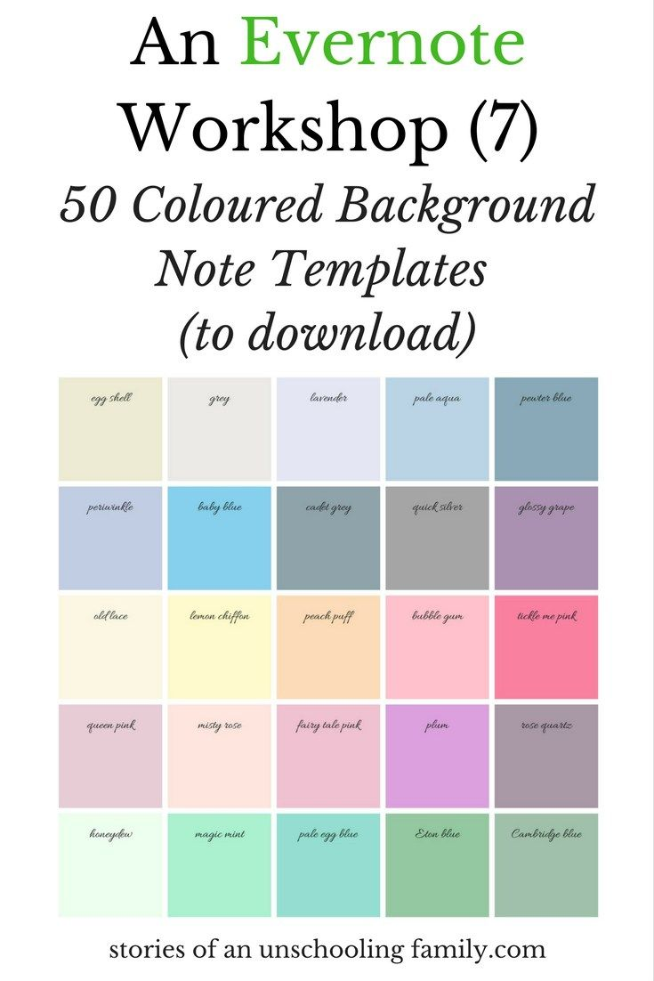 An Evernote Workshop (7): 50 Coloured Background Note Templates (to ...