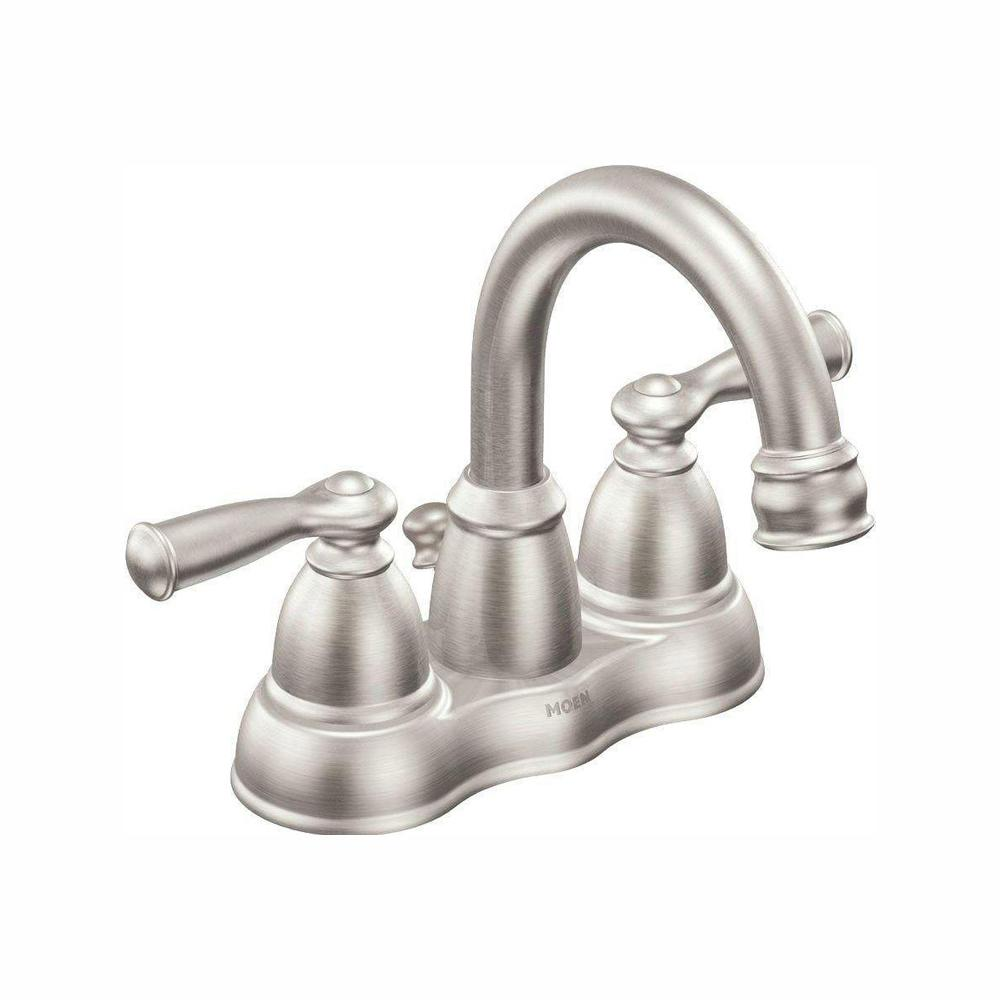 Moen Banbury 4 In Centerset 2 Handle Bathroom Faucet In Spot Resist Brushed Nickel Ws84913srn Low Arc Bathroom Faucet High Arc Bathroom Faucet Bathroom Faucets