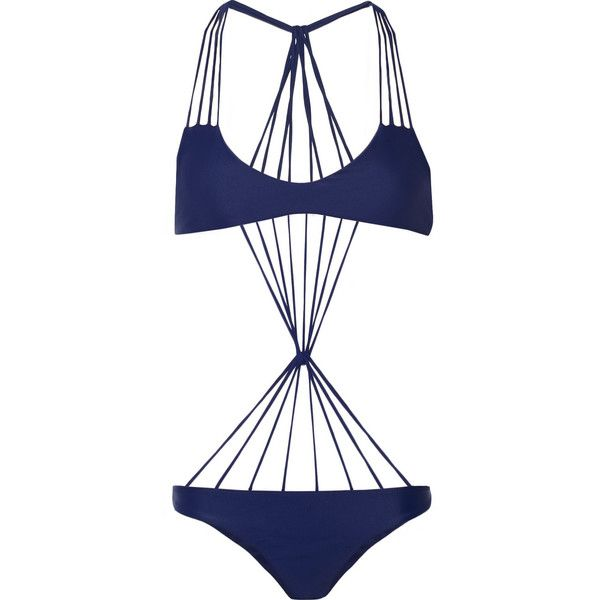 Mikoh Seychelles string swimsuit featuring polyvore, fashion, clothing, swimwear, bikinis, blue, mikoh bathing suits, swimming costume, mikoh swimsuit, swim suits and blue swimsuit