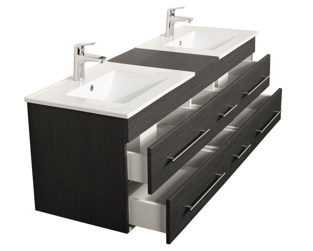 Badmobel Roma Xl Anthrazit Gemasert Waschbecken Waschbeckenunterschrank Und Unterschrank