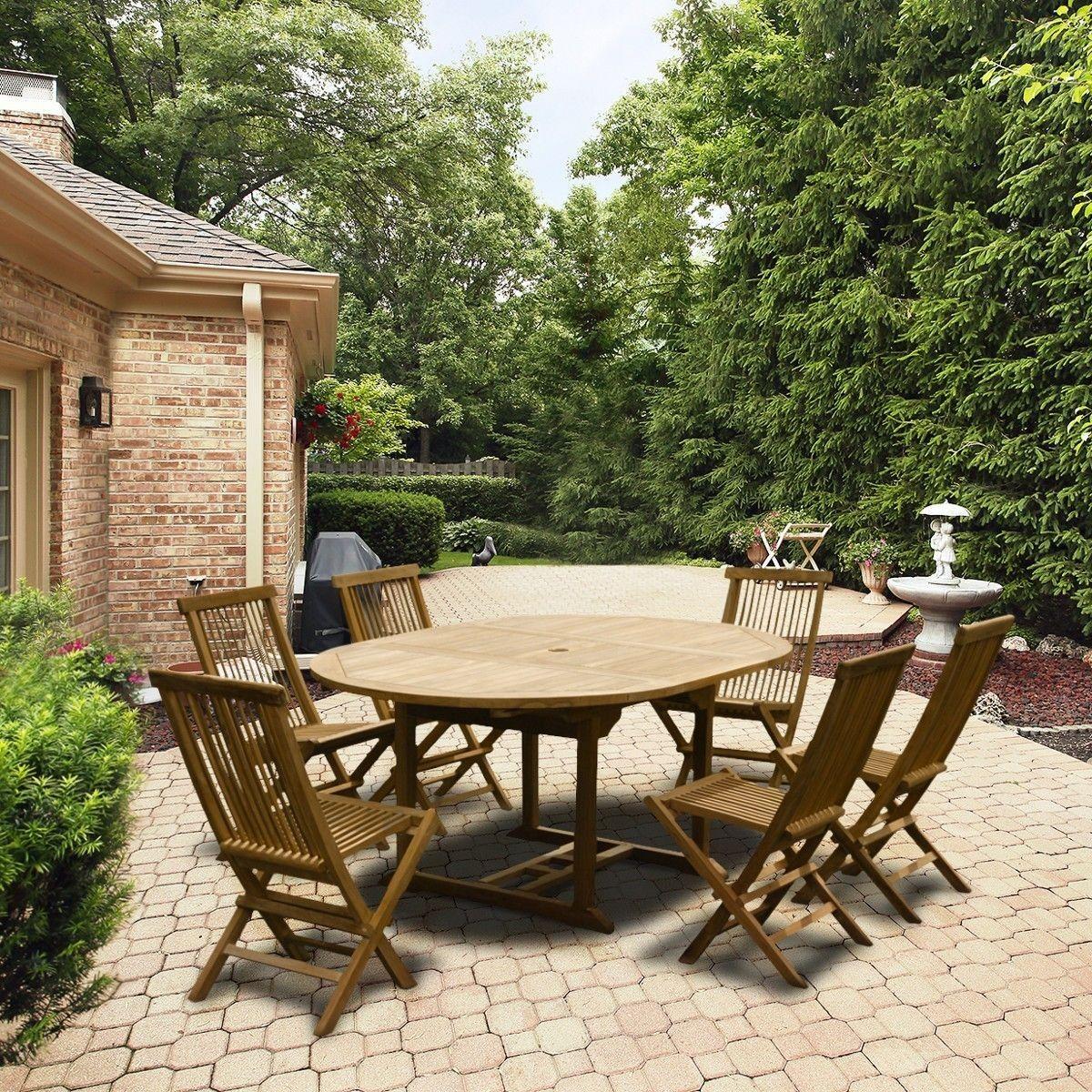 Salon de jardin en teck grade A, 6 chaises et 1 table ronde ...