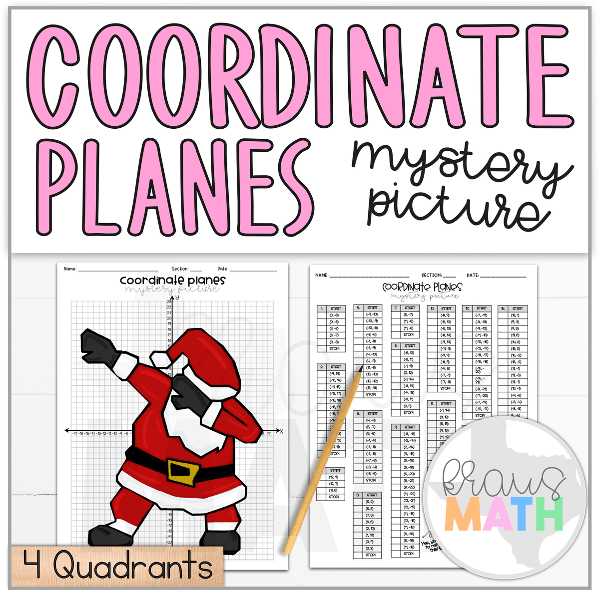 Santa Dab Christmas Coordinate Plane Activity 4 Quadrants