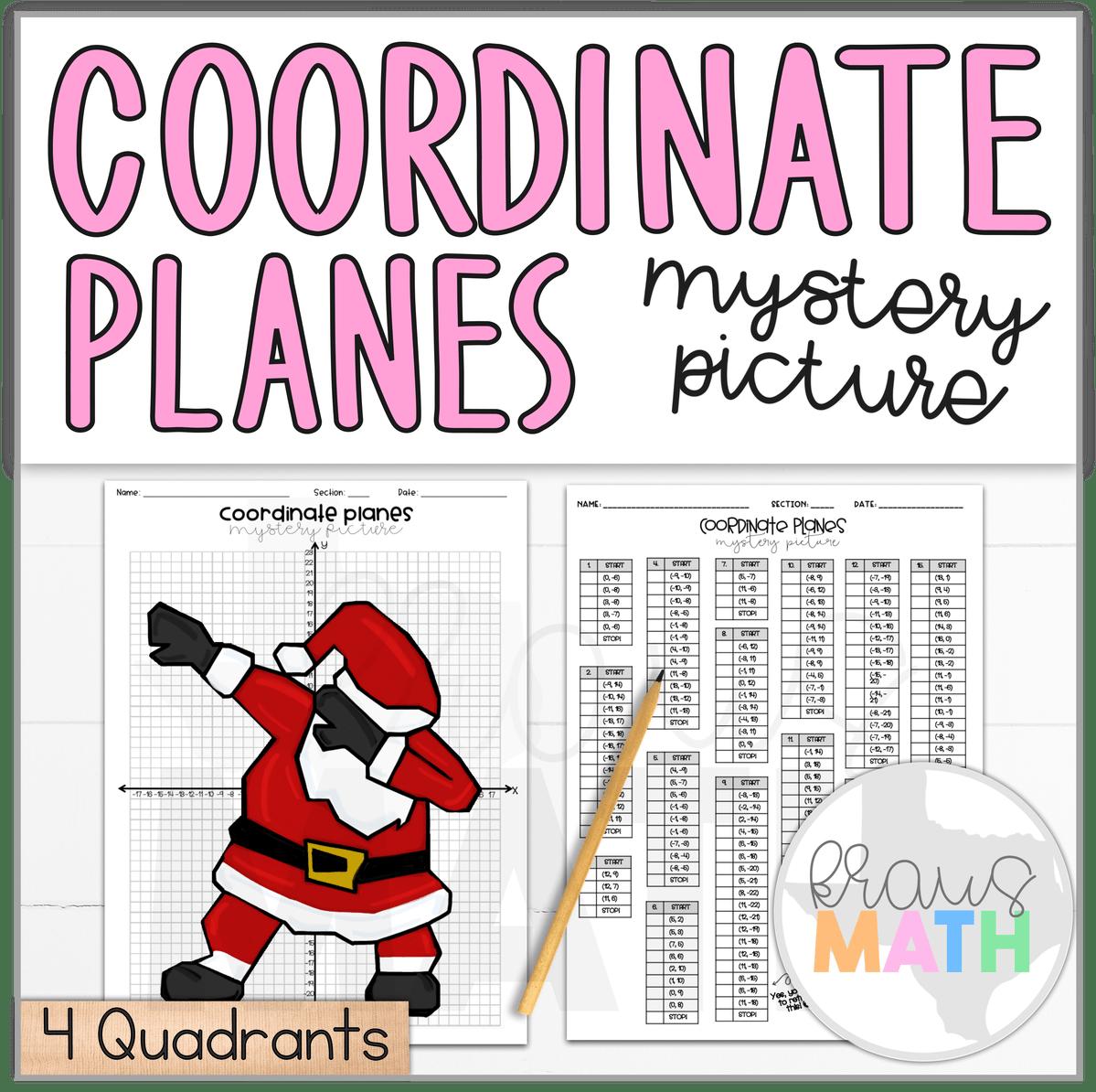 Santa Dab Christmas Coordinate Plane Activity 4 Quadrants