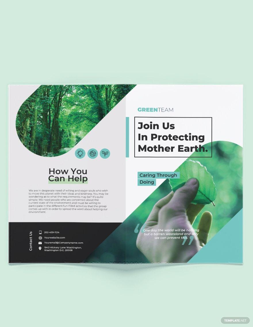 Green Bi-Fold Brochure Template