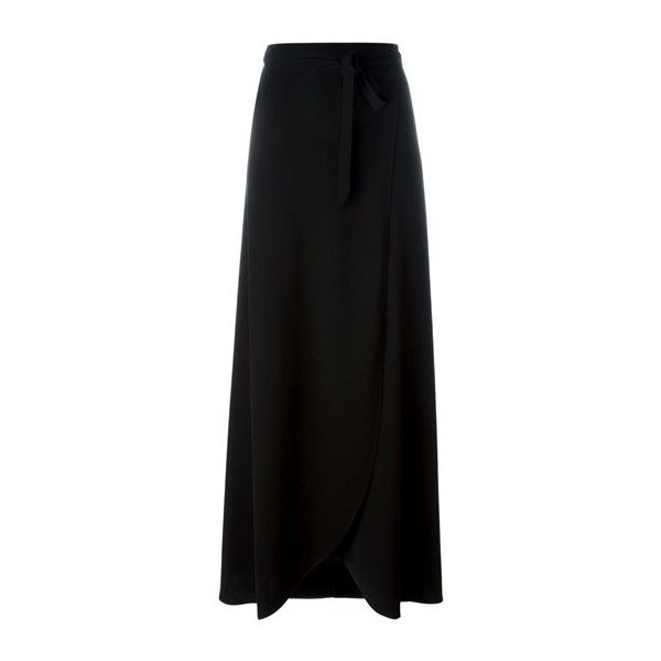 THEORY Black Wrap Long Skirt ($399) ❤ Liked On Polyvore Featuring Skirts,  Black
