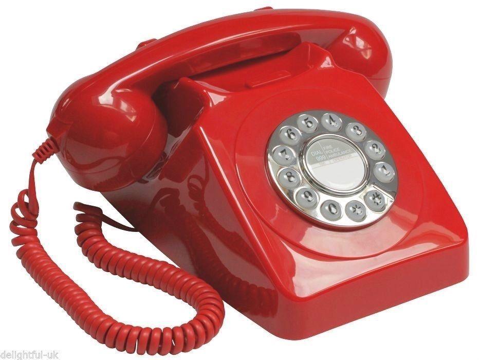 Retro Red Phone Vintage Desk Land Line Telephone Art Deco Antique Old Theatre Retro Phone Vintage Telephone Classic Phones