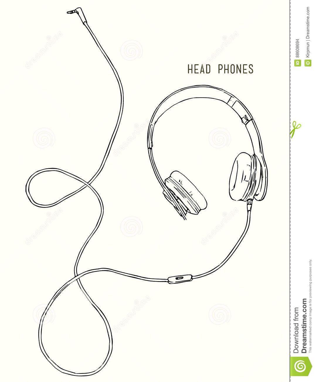 Sketch Style Vector Headphones Stock Vector Illustration Of Cable Hear 88608694 Headphones Art Headphones Drawing Headphone Sketch