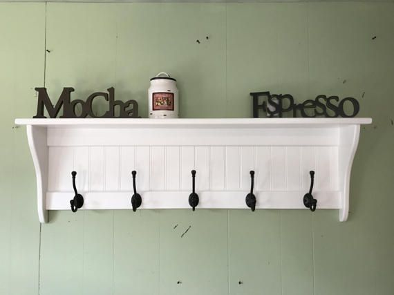 Hanging Wall Shelf 42 Wide White With Black English Etsy Hanging Coat Rack Coat Rack Wall Wall Shelves