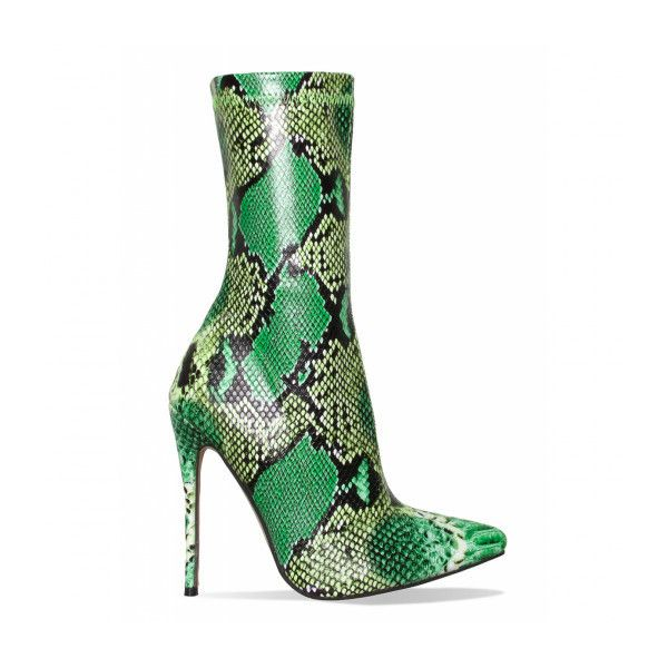 497a2ef7643 Jadah Green Snake Pointed Toe Ankle Boots : Simmi Shoes ($56 ...