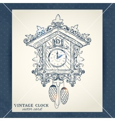 Old Retro Cuckoo Clock Postcard Vector Image On Mit Bildern