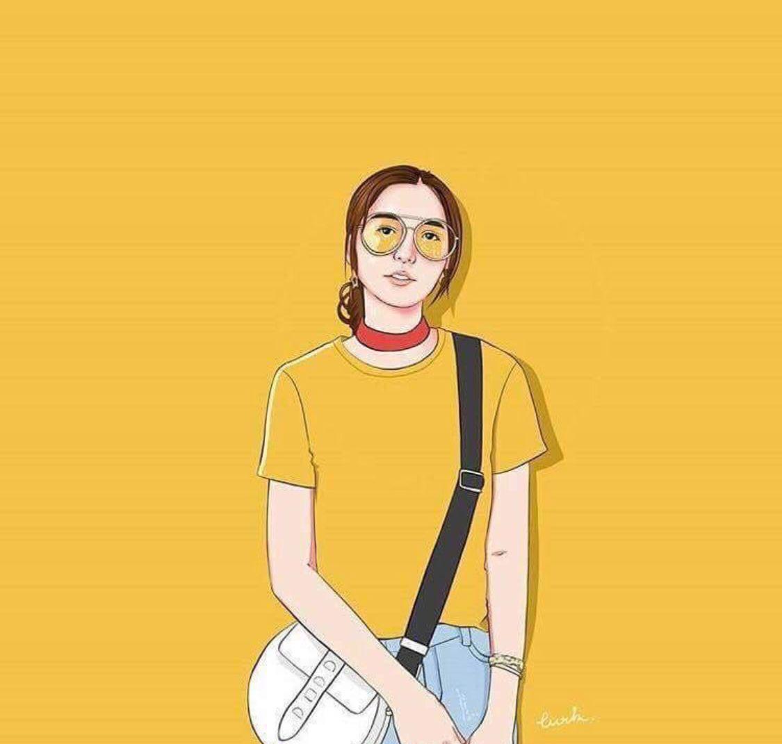 Yellow Girl Wallpaper Kuning Ilustrasi Karakter Ilustrasi