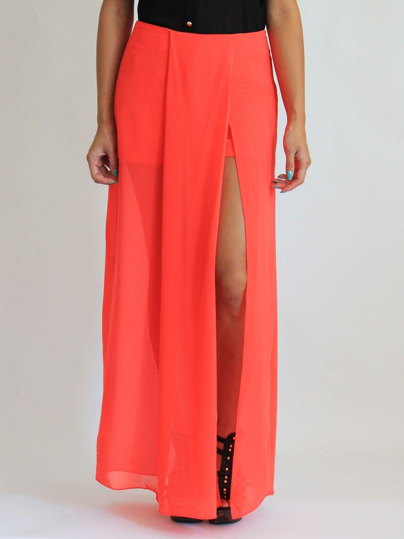 Slit chiffon skirt stylish shorts with chiffon skirt overlay