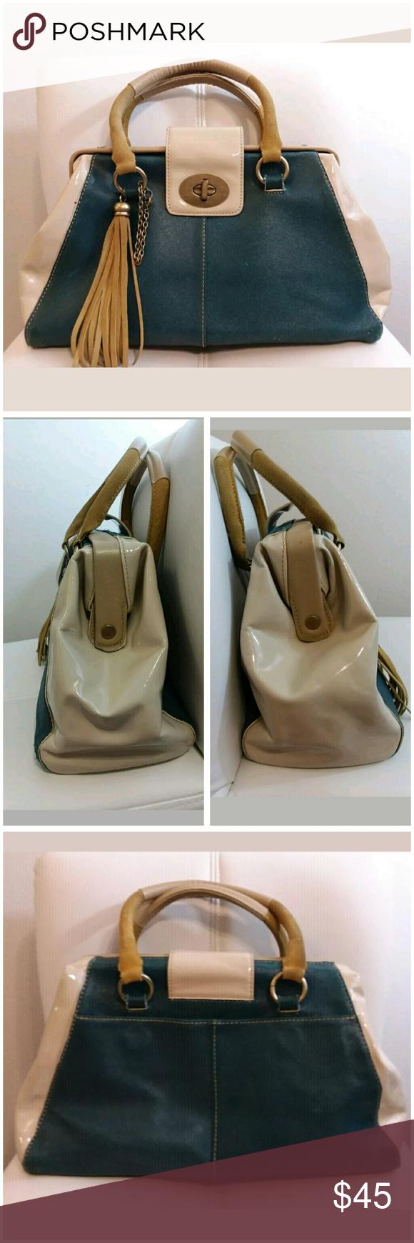 Crown Vintage Handbag Teal Ivory Yellow Shoulder Bag Suede Patent