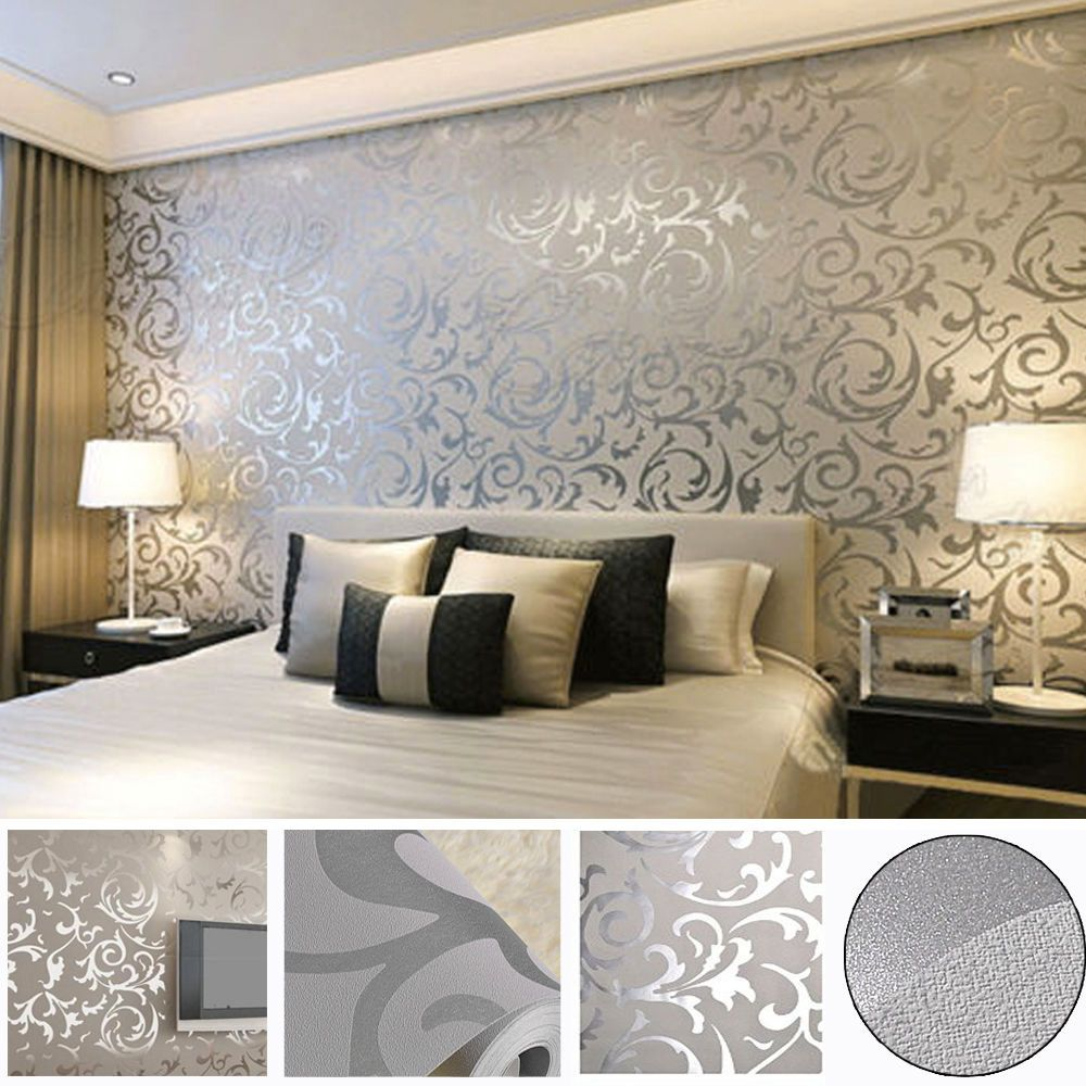 Bedroom Ideas Damask victorian damask 3d feature wallpaper roll | silver and grey | uk