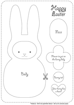 Pattern can be used to make a cute little bunny plush or a