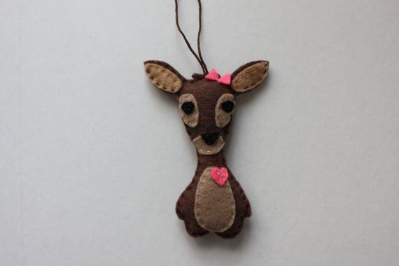 Felt DEER - Key Chain, Car Mirror Ornament - Fridge Magnet - Banner Add On - Gift - stocking stuffer - felt accessories