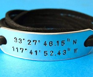 Custom Coordinates Bracelet - with Wyatt's final resting place.
