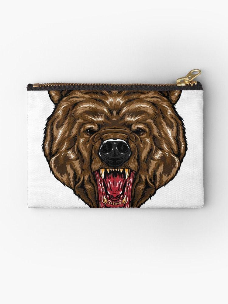 Fierce Bear Head Studio Pouch By Zaidturk