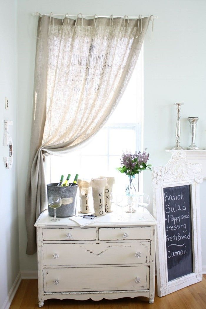 Shabby Chic Chest Of Drawers White Himself Painting Living Room Linen Curtains