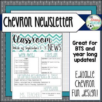 Classroom Newsletter - Chevron Theme Classroom resources, Teacher