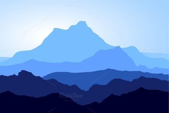 Huge Blue Mountains Vector Set Monochromatic Art Monochromatic Paintings Landscape Illustration