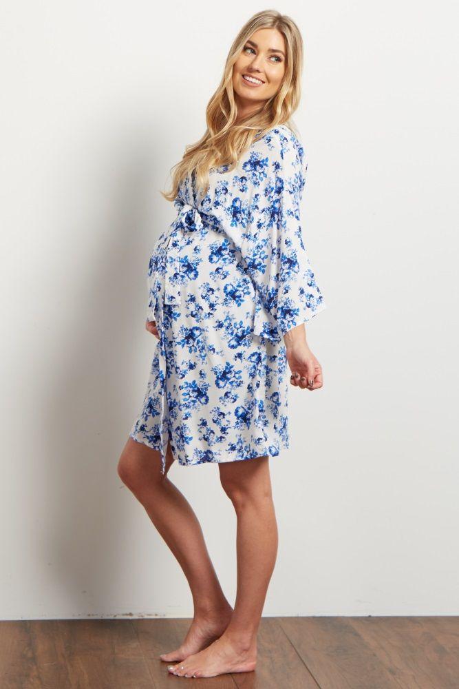 Blue Floral Cluster Dressing Robe